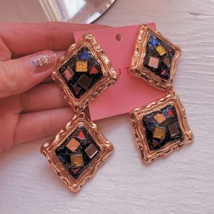 Statement 80's Inspired Jewel Earrings
